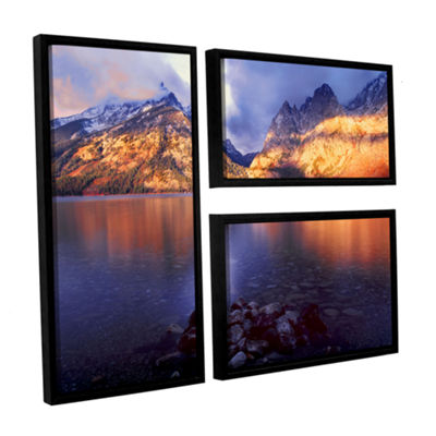 Brushstone Jenny Lake Sunrise 3-pc. Flag Floater Framed Canvas Wall Art