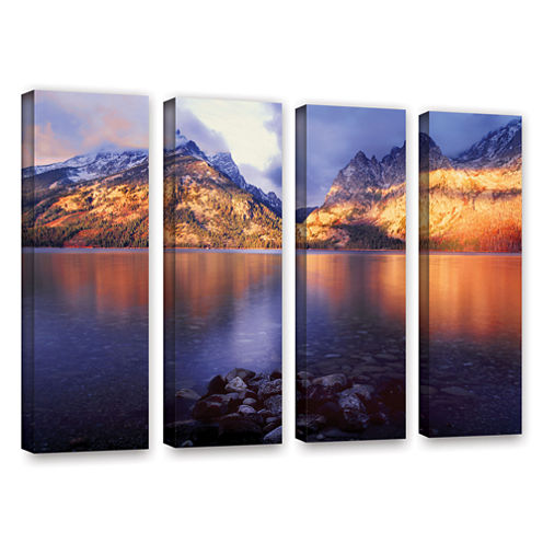 Brushstone Jenny Lake Sunrise 4-pc. Gallery Wrapped Canvas Wall Art
