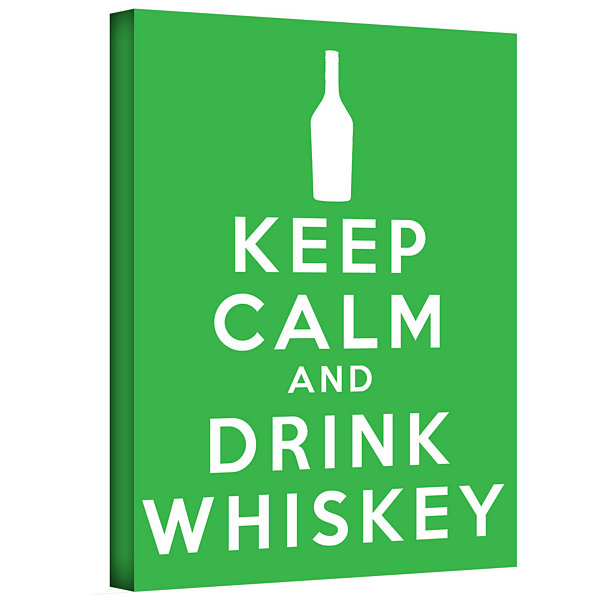 Brushstone Keep Calm And Drink Whiskey (Green) Gallery Wrapped Canvas Wall Art