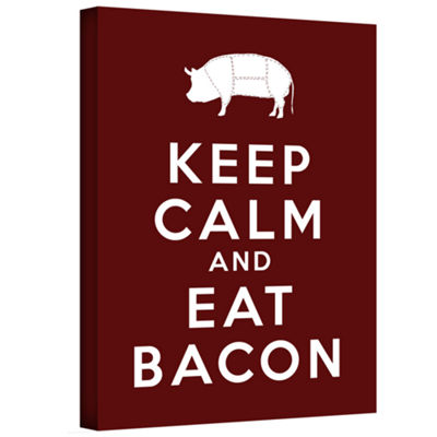 Brushstone Keep Calm And Eat Bacon Gallery WrappedCanvas Wall Art