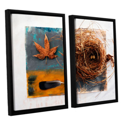 Brushstone Nest With Eggs Feather And Sycamore Leaf 2-pc. Floater Framed Canvas Wall Art