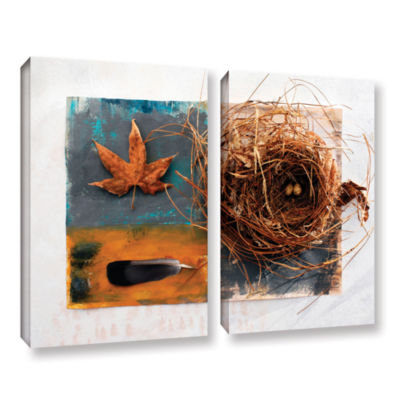 Brushstone Nest With Eggs Feather And Sycamore Leaf 2-pc. Gallery Wrapped Canvas Wall Art