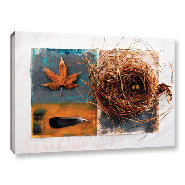 Brushstone Nest With Eggs Feather And Sycamore Leaf Gallery Wrapped Canvas Wall Art