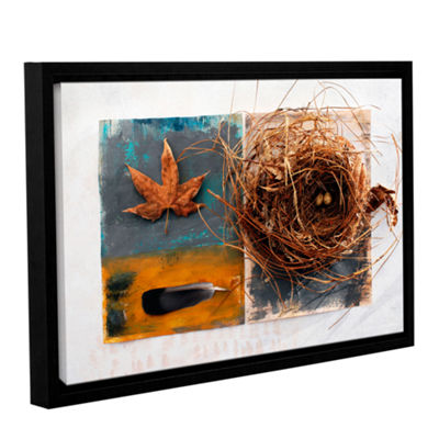Brushstone Nest With Eggs Feather And Sycamore Leaf Gallery Wrapped Floater-Framed Canvas Wall Art