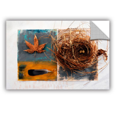 Brushstone Nest With Eggs Feather And Sycamore Leaf Removable Wall Decal