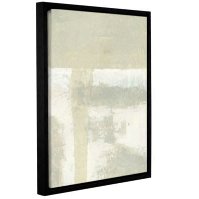 Brushstone Neutral Abstract Gallery Wrapped Floater-Framed Canvas Wall Art