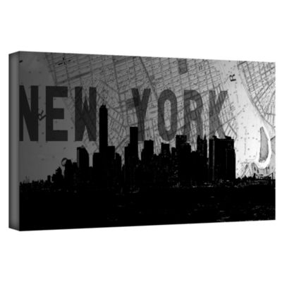 Brushstone New York (Map) Gallery Wrapped Canvas Wall Art