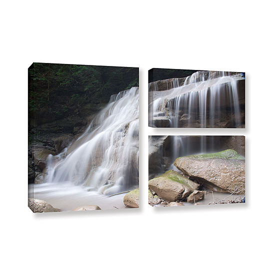 Brushstone New York Rattlesnake Gulf Waterfall 3 Pc Flag Gallery Wrapped Canvas Wall Art