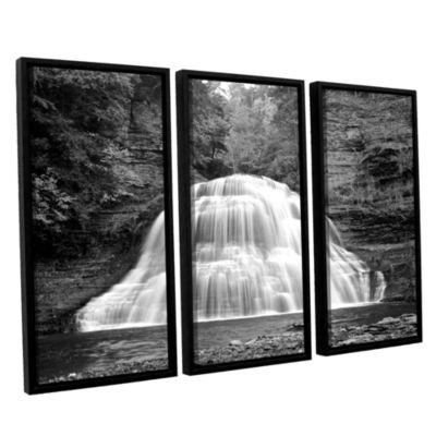 Brushstone New York-Treman Falls 3-pc. Floater Framed Canvas Wall Art