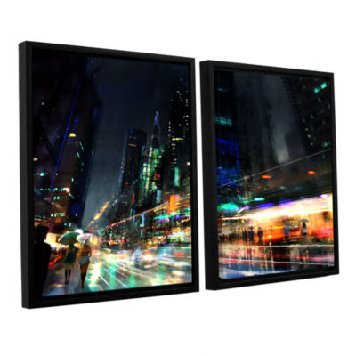 Brushstone Night City 3 2-pc. Floater Framed Canvas Wall Art