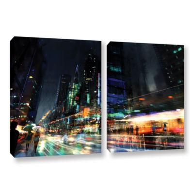 Brushstone Night City 3 2-pc. Gallery Wrapped Canvas Wall Art