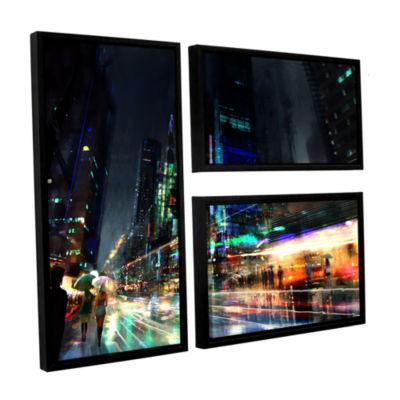 Brushstone Night City 3 3-pc. Flag Floater FramedCanvas Wall Art