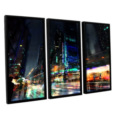 Brushstone Night City 3 3-pc. Floater Framed Canvas Wall Art