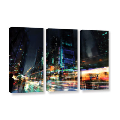 Brushstone Night City 3 3-pc. Gallery Wrapped Canvas Wall Art