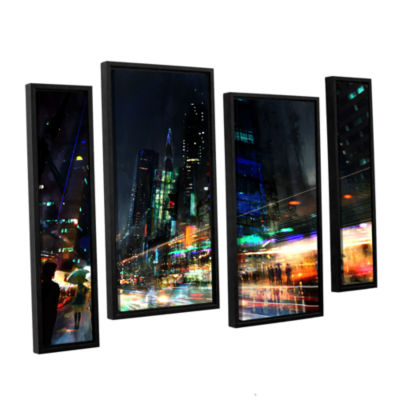 Brushstone Night City 3 4-pc. Floater Framed Staggered Canvas Wall Art