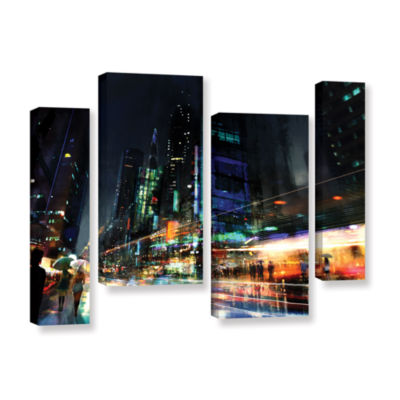 Brushstone Night City 3 4-pc. Gallery Wrapped Staggered Canvas Wall Art