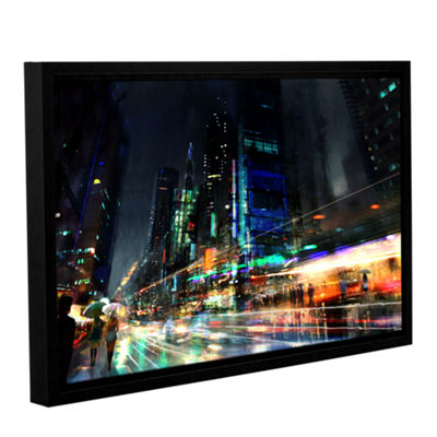 Brushstone Night City 3 Gallery Wrapped Floater-Framed Canvas Wall Art