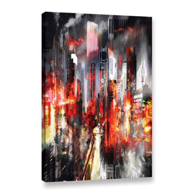 Brushstone Night City IV Gallery Wrapped Canvas Wall Art