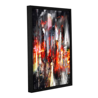 Brushstone Night City IV Gallery Wrapped Floater-Framed Canvas Wall Art