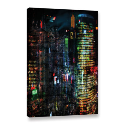 Brushstone Night City VII Gallery Wrapped Canvas Wall Art