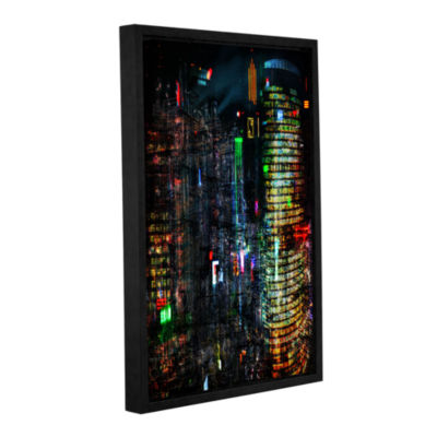 Brushstone Night City VII Gallery Wrapped Floater-Framed Canvas Wall Art