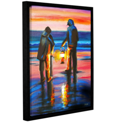 Brushstone Night Clammers Gallery Wrapped Floater-Framed Canvas Wall Art