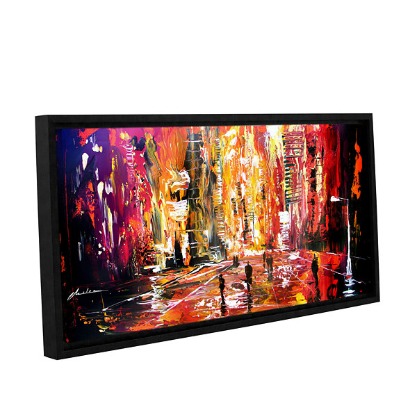 Brushstone Night Life Gallery Wrapped Floater-Framed Canvas Wall Art