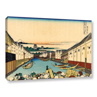 Brushstone Nihonbashi Bridge In Edo Gallery Wrapped Canvas Wall Art