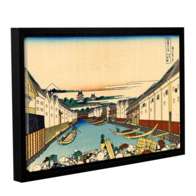 Brushstone Nihonbashi Bridge In Edo Gallery Wrapped Floater-Framed Canvas Wall Art