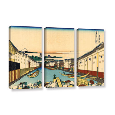 Brushstone Nihonbashi In Edo 3-pc. Gallery Wrapped Canvas Wall Art