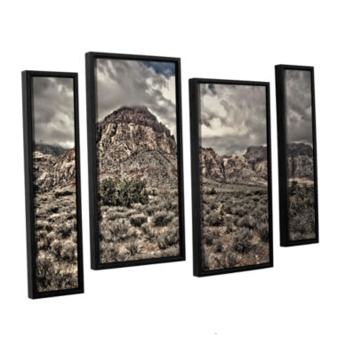 Brushstone No Distractions 4-pc. Floater Framed Staggered Canvas Wall Art