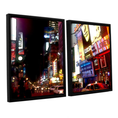 Brushstone NYC Bright Lights Broadway 2-pc. Floater Framed Canvas Wall Art