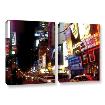 Brushstone NYC Bright Lights Broadway 2-pc. Gallery Wrapped Canvas Wall Art