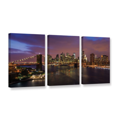 Brushstone NYC Skyline With Brooklyn Bridge Panoramic 3-pc. Gallery Wrapped Canvas Wall Art