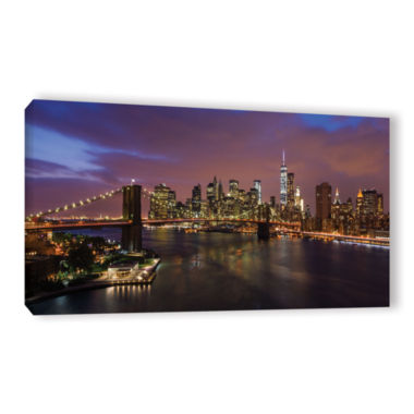 Brushstone NYC Skyline With Brooklyn Bridge Panoramic Gallery Wrapped Canvas Wall Art