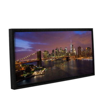 Brushstone NYC Skyline With Brooklyn Bridge Panoramic Gallery Wrapped Floater-Framed Canvas Wall Art