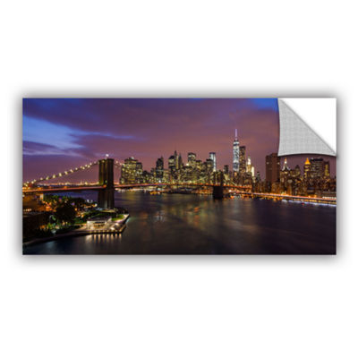Brushstone NYC Skyline With Brooklyn Bridge Panoramic Removable Wall Decal