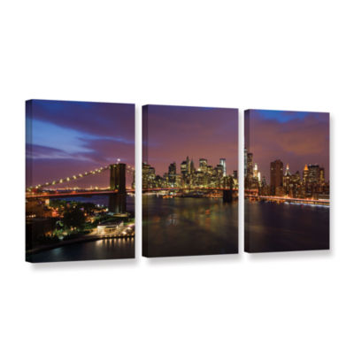 Brushstone NYC With Brooklyn Bridge 3-pc. Gallery Wrapped Canvas Wall Art