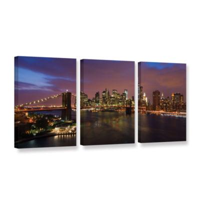Brushstone NYC With Brooklyn Bridge 3-pc. GalleryWrapped Canvas Wall Art