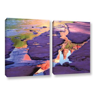 Brushstone Oak Creek Mirror 2-pc. Gallery WrappedCanvas Wall Art