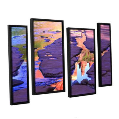 Brushstone Oak Creek Mirror 4-pc. Floater Framed Staggered Canvas Wall Art