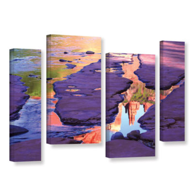 Brushstone Oak Creek Mirror 4-pc. Gallery WrappedStaggered Canvas Wall Art