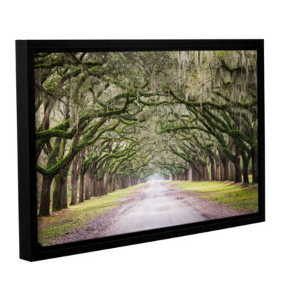 Brushstone Oak Trees With Spanish Moss In SavannaGeorgia Gallery Wrapped Floater-Framed Canvas WallArt