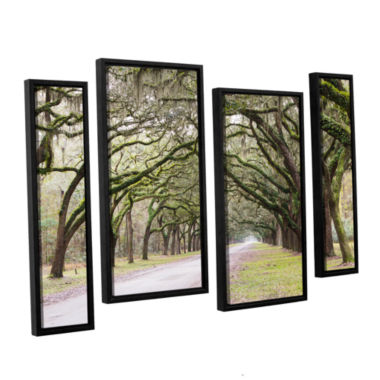 Brushstone Oak Trees With Spanish Moss In SavannaGeorgia2 4-pc. Floater Framed Staggered Canvas Wall Art