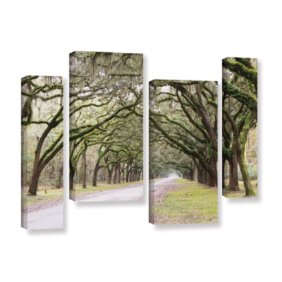 Brushstone Oak Trees With Spanish Moss In SavannaGeorgia2 4-pc. Gallery Wrapped Staggered Canvas Wall Art