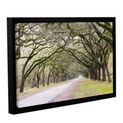 Brushstone Oak Trees With Spanish Moss In SavannaGeorgia2 Gallery Wrapped Floater-Framed Canvas Wall Art