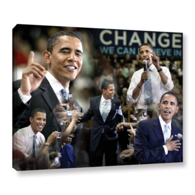 Brushstone Obama Collage II Gallery Wrapped CanvasWall Art