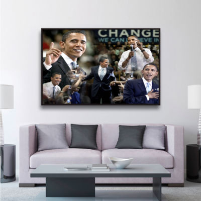 Brushstone Obama Collage II Gallery Wrapped Floater-Framed Canvas Wall Art