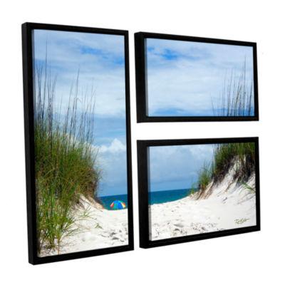 Brushstone Ocean Path 3-pc. Flag Floater Framed Canvas Wall Art