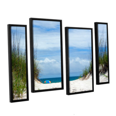 Brushstone Ocean Path 4-pc. Floater Framed Staggered Canvas Wall Art